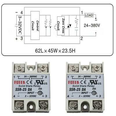 Solid State Relay SSR-10/25/40DA Electronic Switching Device Input 3-32V DC HOT