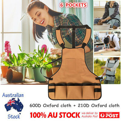 Adjustable Professional Bib Apron Oxford With 6 Pockets for Women Men Adults