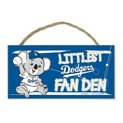 "Los Angeles Dodgers Littlest Fan 5""x10"" Fan Cave Wood Sign MLB Wall Decor"