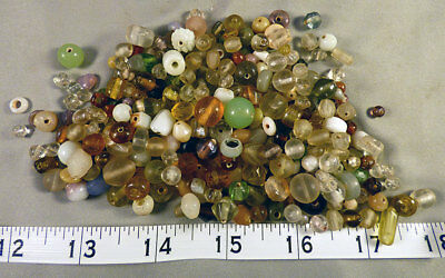 Large Collection of Vaseline Glass Indian Trade Beads 150+ years Old Venetian