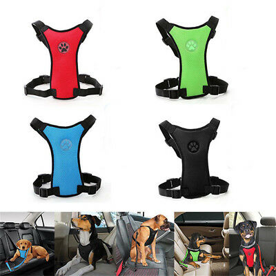 Pet Puppy Dog Car Harness + Seat belt Clip Lead For Dogs Breathable Air Mesh