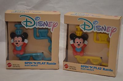 (2) NEW Vintage Disney Spin 'N Play Rattle Baby Mickey (Blue & Yellow)