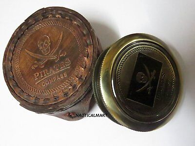 """Pirates of Caribbean Jack Sparrow 2"""" Pocket Antique Brass Compass with case"""