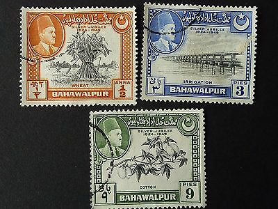 1253]  Stamps Of Bahawalpur 1949 Silver Jubilee   Sg 39 / 40 / 41  -   F/used