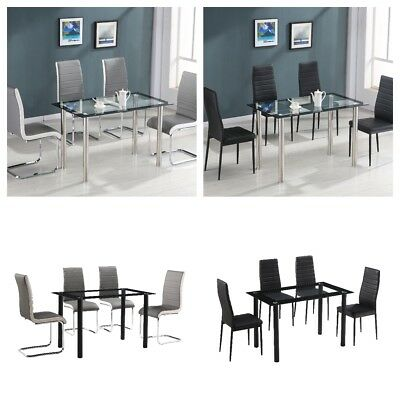 Tempered Glass Round Dining Table Set And 4 Faux Leather Chairs  Chrome Leg
