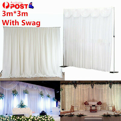 AU Wedding Party Stage Backdrop Swag Drape Sheer Satin Curtain Background 3MX3M