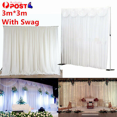 With Swags Stage Wedding Backdrop Party Photography Background Curtains 3MX3M