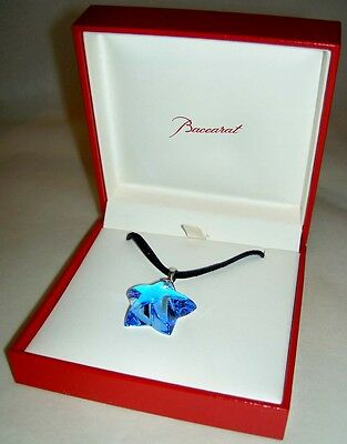 Authentic BACCARAT Crystal Blue Sapphire Sterling Starlet Pendant Necklace NIB