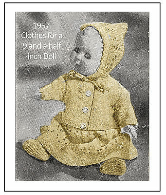 Clothes for a 9.5 inch Doll Vintage Knitting Pattern Copy