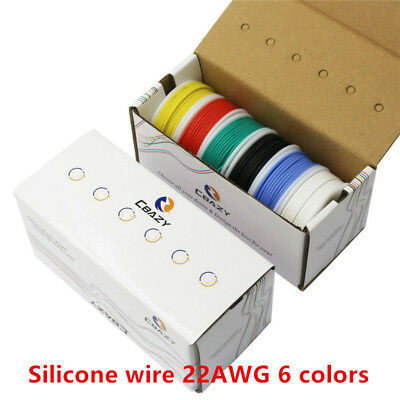 36m//box 24AWG Rubber Silicone Wire 6 colors Mix set Tinned Copper Wire 6 m//roll