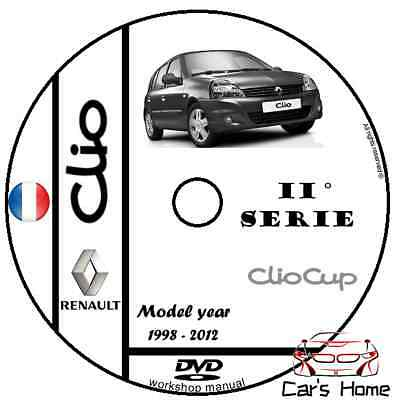 MANUALE OFFICINA RENAULT CLIO II SERIE my 98 - 12 WORKSHOP MANUAL DVD
