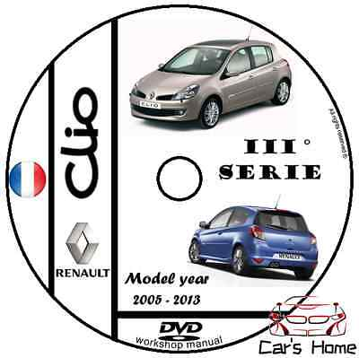 MANUALE OFFICINA RENAULT CLIO III SERIE  my 2005-2013 WORKSHOP MANUAL DVD
