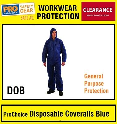 ProChoice PRO DOB Disposable Coveralls Blue OVERALL HOOD SAFETY SIZE XL 2 PACKS