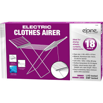 Clothes Airer Horse Winged Tier Tower Indoor Dryer Laundry Rack Electric Heated