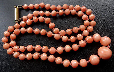 antique Edwardian 9ct GOLD & salmon pink CORAL bead necklace push clasp -A460