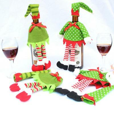 Cute Christmas Elf Wine Bottle Cover Gift Wrap Bag Xmas Table Decoration