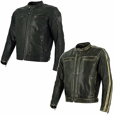 Richa Goodwood Motorcycle Bike Vintage Style Jacket With D30 Armor Brown Stripes