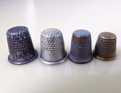 Vintage Lot Set 4 Miniature Metal Thimbles For A Good Girl Collectible Sewing