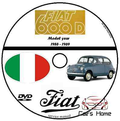 Manuale Officina Fiat 600 D My 1955 - 1969 Workshop Manual Service Cd Dvd