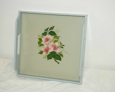 Vintage Wooden Drinks Tray Lacquered Inlaid base Shabby Chic Floral Design