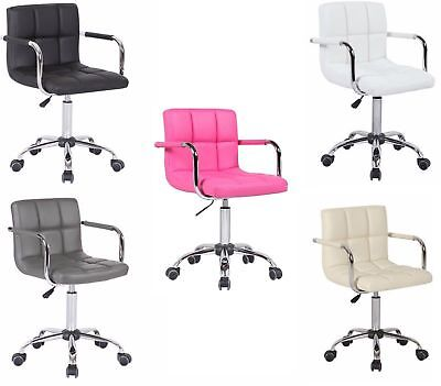 Stylish PU Faux Leather Computer Office Desk Swivel Chair Wheels Salon Barber