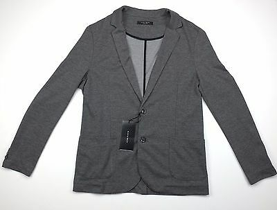 Zara Men's Blazer Sport Coat Grey Gray Size Large Two Button Jacket Stretch PCC