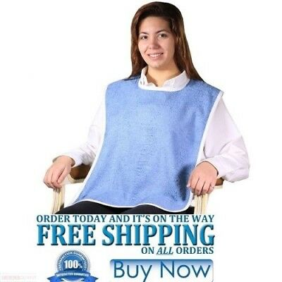 "3 NEW ADULT TERRY CLOTH BIB EASY CLOSURES BLUE ""buy 3 get 1 free"" JUMBO 18X30"