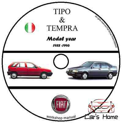 Manuale Officina Fiat Tipo & Tempra My 1988 - 1996 Workshop Manual Cd Dvd