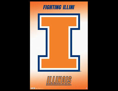 25be0482e Rare University of Illinois FIGHTING ILLINI Official NCAA Team Logo POSTER