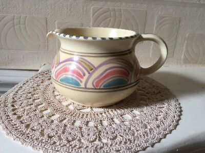 Vintage Honiton Pottery Jug Early Impressed Mark Circa 1950's Eastern Scroll