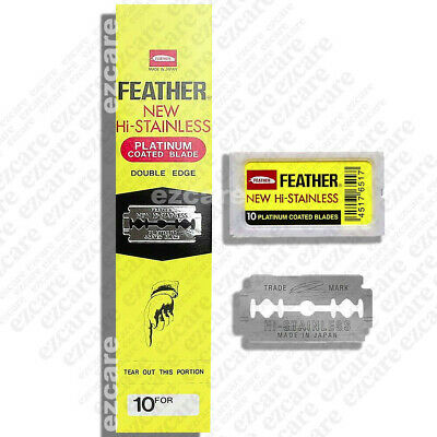 Feather New Hi-Stainless Platinum Coated Double Edge Blade 20 Packets x10blades