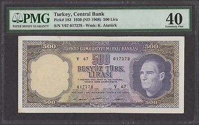 Turkey 1930 (ND 1968) P-183 PMG XF 40 500 Lira