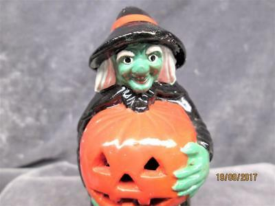 Vintage Hand Painted Ceramic Green Face Witch And Pumpkin Light Halloween Figure