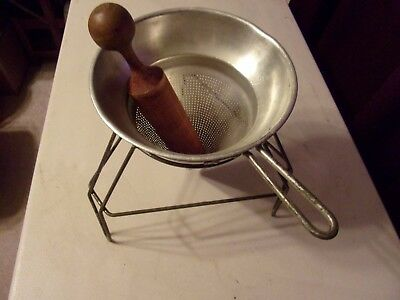 Vintage Canning Colander With Stand And Pestle