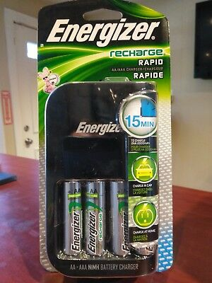 Energizer Rapid Charger CH15MNCP4 | 4 AA Batteries | Car/AC Adapter | FAST SHIP