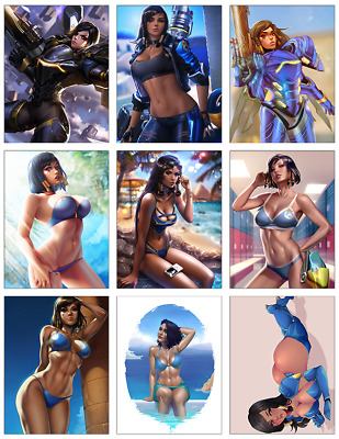 "OVERWATCH - Pharah 9-pc Stickers Set - 2.5""x3.25"" (PS4, XBOX, GAME, NOTEBOOK)"