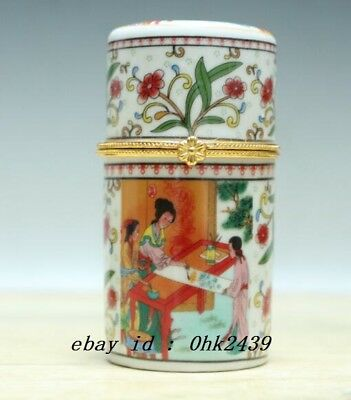 Exquisite Chinese painting Porcelain beautiful woman Toothpick box Gift Box