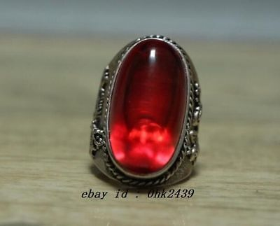 Collectible Tibet Silver Handmade Inlaid red zircon Carved dragon phoenix rin