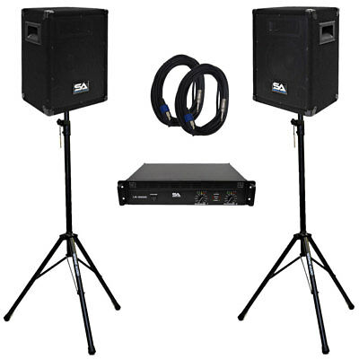 """Seismic Audio Pair 8"""" PA DJ Speakers with Amplifer, Stands & 25' Cables"""