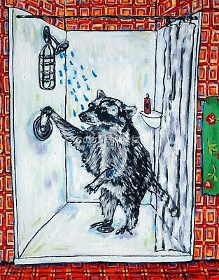 raccoon in the shower taking a bath bathroom signed art print 13x19
