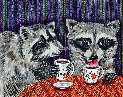 RACCOON coffee 13x19 signed art PRINT from oil painting gift JSCHMETZ