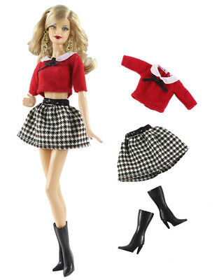 3in1 Set Outfit Top+skirt+boots FOR 11.5in.Doll Clothes Girl Gift