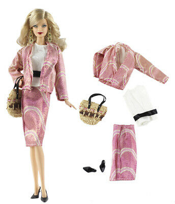 5in1 Set Outfit Coat+vest+skirt+bag+shoes FOR Barbie Doll Clothes Girl Gift