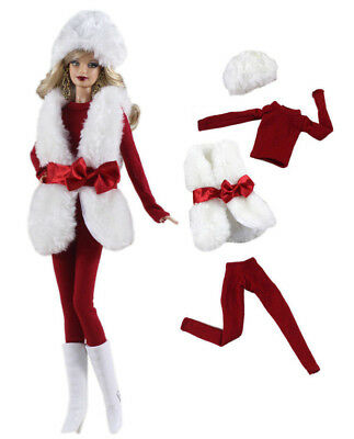 5in1 Set Fur Coat+top+pants+boots+hat FOR Barbie Doll Clothes Girl Gift
