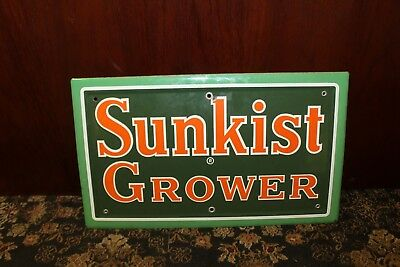 1940s Original Sunkist Grower Porcelain Sign From Disney Sunkist Store Display