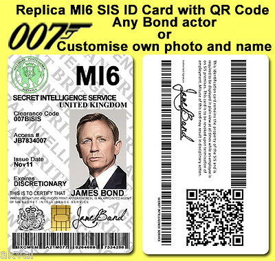 James Bond 007 MI6 SIS Spectre inspired PVC ID Card with PHYSICAL 4428 IC CHIP