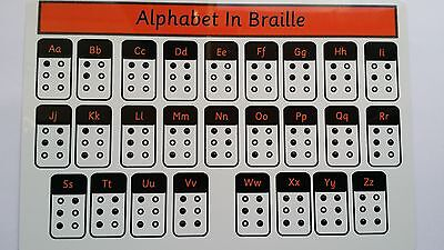 BRAILLE ALPHABET - Aluminium Board - raised dots to feel and learn letters - SEN