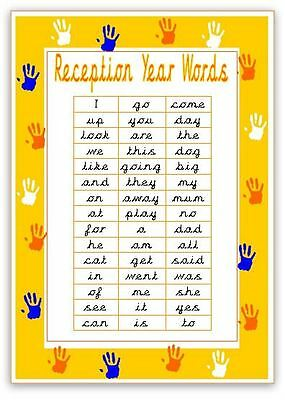 Reception Words - A4 Laminated Poster- read write spell recognise- CURSIVE