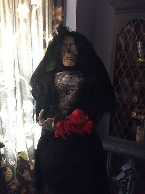 "Animatronic Skeleton Bride 63"" Halloween Prop Life Size Animated Decoration"