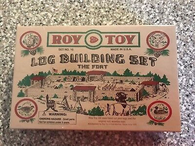 ROY TOY LOG BUILDING SET NO.10 THE FORT WOODEN LOGS Made in USA NEW in Box